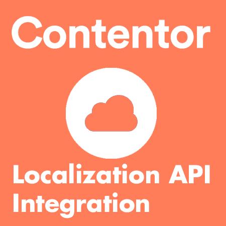 """Orange bild med grafisk symbol med ett moln. """"Localization API Integration"""""""